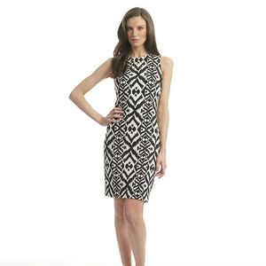 Badgley Mischka Ikat Studded Sheath Dress 10